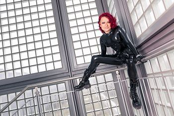 Fantastic Rubber Schwarzes Latex Catsuit
