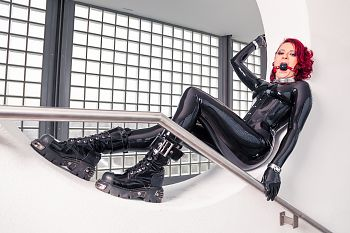Boots Black Latex Catsuit
