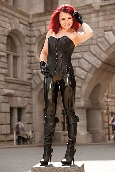 Latex in Public Leather Corset and Latex