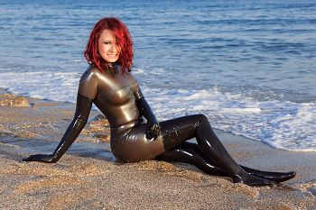 Latex Stockings Wet on the beach