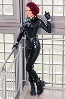 Catsuit de látex negro