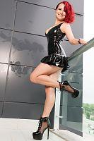 Latex Mini Dress on Balcony