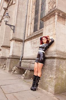 Black Latex Dress in Public