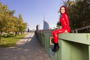 Red Latex Catsuit