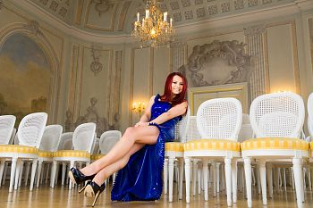 Classical Diva in Blue Latex Dress