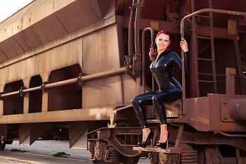 Latex Catsuit at Rail Station